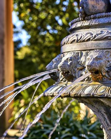 Closeup of lion heads on a water fountain. The lions spit out water.