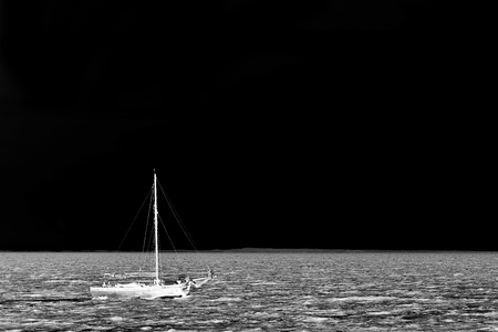 Sailboat and seascape - silhouette background