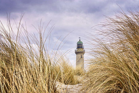Very close to the grass with lighthouse in the background. Warnem?nde, Germany Фото со стока - 114117199