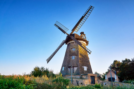 Dutch windmill under blue sky, in Benz on Usedom island. Germany Imagens