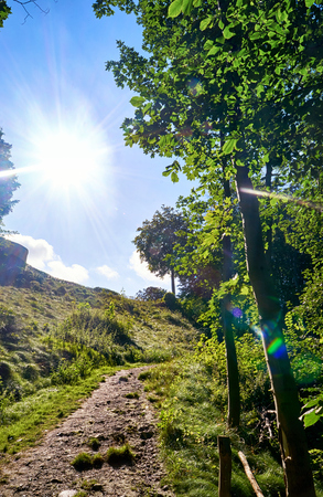 Sunshine on a slope with hiking trail. In Lohme on the island of Rugen.