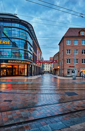 Sparkasse at Marienplatz in the old town of Schwerin. Mecklenburg-Vorpommern, Germany