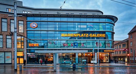 Rewe am Marienplatz in the old town of Schwerin. Mecklenburg-Vorpommern, Germany