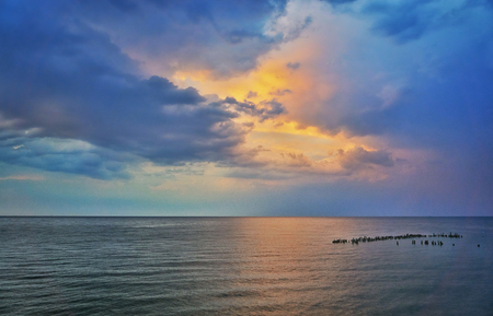 Colorful sunset on the Baltic Sea on the island of Usedom. Mecklenburg-Vorpommern, Germany Standard-Bild