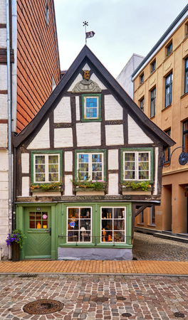 A small old half-timbered house in the old town Schwerin. Mecklenburg-Vorpommern, Germany
