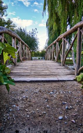 Romantic Wooden Bridge in Schwerin. Mecklenburg-Vorpommern, Germany Stock Photo