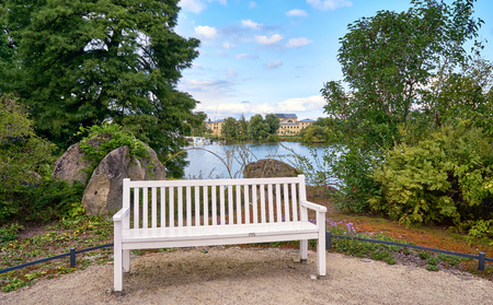 Park bench with the Schwerin lake in the background.