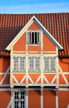 Close-up of an old timbered house in Wismar. 免版税图像