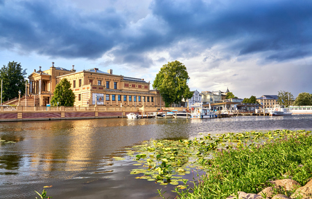 Traditional German old buildings and a harbor on Lake Schwerin. Germany