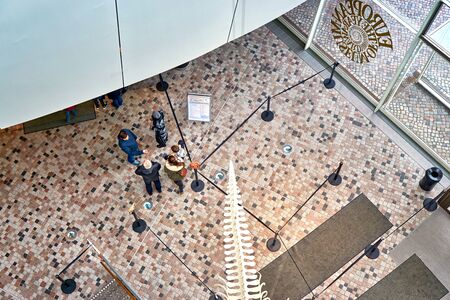 Entrance hall in a museum from above.