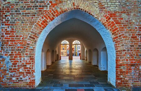Old tunnel to the market in Schwerin downtown.