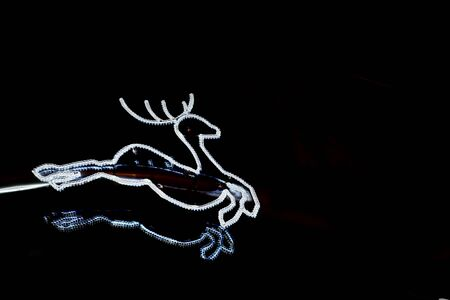 Reindeer from fairy lights on a black background as a Christmas decoration. 版權商用圖片 - 130754711