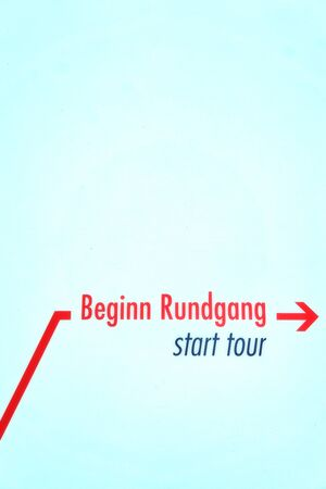 Text start tour with red arrow isolated on white vertical background.