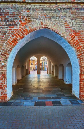 Old tunnel overlooking the market square in Schwerin downtown.