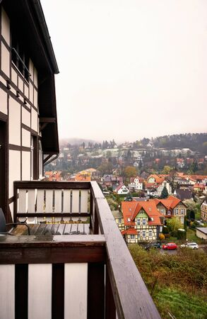 View from the balcony of a historic half-timbered house to the Wernigerode town. Saxony-Anhalt, Germany
