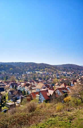 View from the slope to the historic half-timbered houses of the city of Wernigerode. Saxony-Anhalt, Germany 版權商用圖片