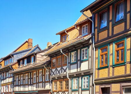 Details of half-timbered houses with many small windows in the old town of Wernigerode. Saxony-Anhalt, Germany