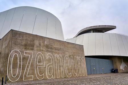 Ozeaneum in Stralsund as text. Mecklenburg-Vorpommern, Germany