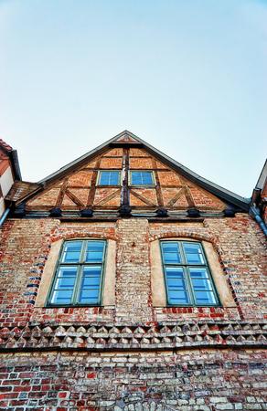 Old half-timbered houses in Schwerin. Mecklenburg-Vorpommern, Germany