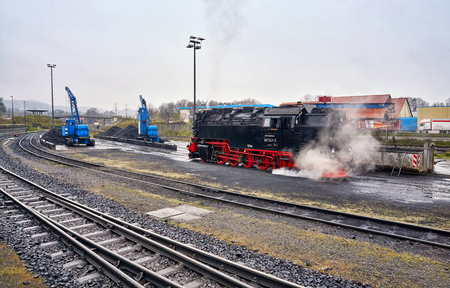 Railway station with coal to load the historic steam locomotive of the Harz Narrow Gauge Railway.
