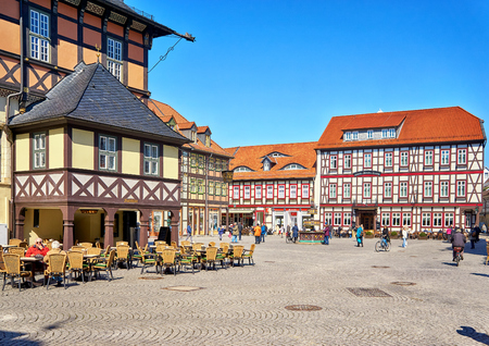 Market square with old historic houses in the old town of Wernigerode. Saxony-Anhalt, Germany