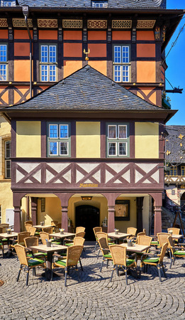 Restaurante in an old historic half-timbered house in Wernigerode. Germany
