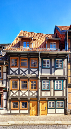 Two small half-timbered houses in the old town of Wernigerode. Saxony-Anhalt, Germany
