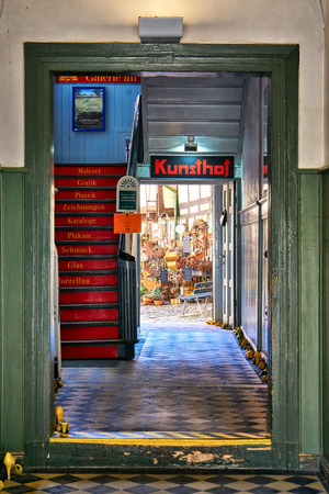 Traditional handicraft market with typical products from Germany. Art store means Kunsthof in German.