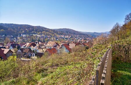 View from the fence on the hillside to the historic half-timbered houses of the city of Wernigerode. Saxony-Anhalt, Germany 版權商用圖片