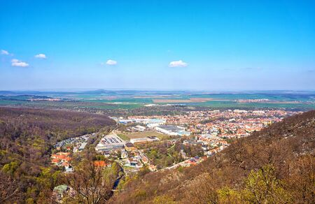 City view of Thale in the Harz Mountains from the air. Saxony-Anhalt, Germany