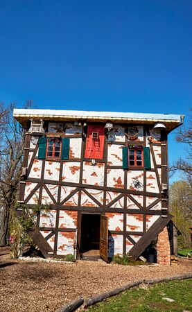 Witches house on the witch dance place in Thale. Saxony-Anhalt, Harz, Germany 版權商用圖片