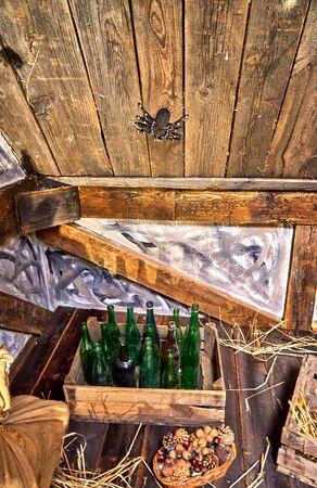 Retro bottles in a vintage wooden box. 版權商用圖片