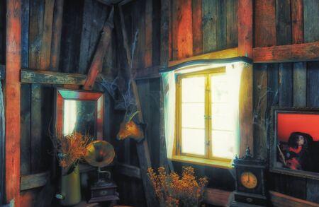 Vintage still life with window sunshine and flowers. 版權商用圖片