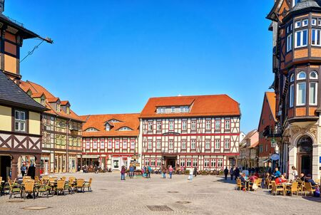 Market square with old half-timbered houses in the old town of Wernigerode. Saxony-Anhalt, Germany