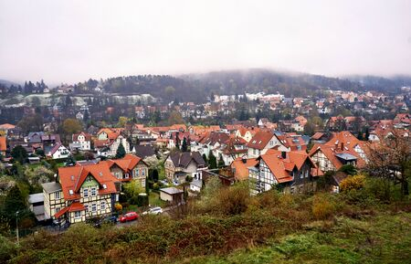 Mist over the mountains of the city Wernigerode. Saxony-Anhalt, Germany 版權商用圖片