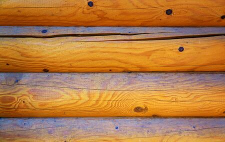 Wall of a log house as a wood background.