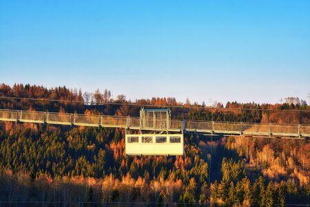 Close-up of the Titan RT bridge on the Rappbode dam. The longest pedestrian suspension bridge in the world in the Rappbodetalsperre. Saxony-Anhalt, Germany