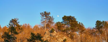 Full moon setting over the mountain ridge with colored trees on the mountain side.