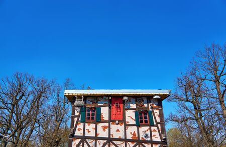 Close up of the witch house on the witch dance place in Thale. Saxony-Anhalt, Harz, Germany