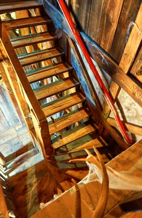 Old retro wood stairs and walls.