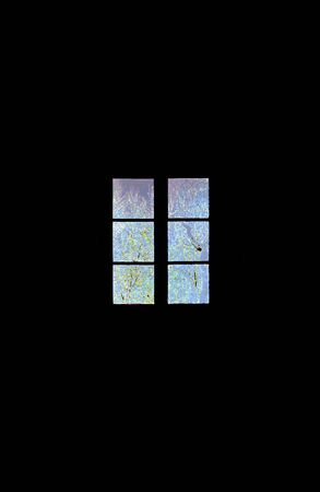 Abstract window on black background.