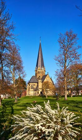 Spring at the St. Petri church in Thale. Saxony-Anhalt, Harz, Germany
