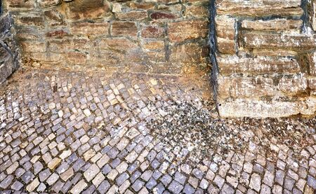 Bird droppings on old paving stones on a natural stone wall. Stock Photo