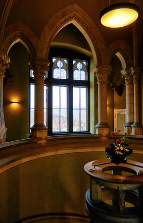 Staircase with spiral staircase and old window in Wernigerode Castle. Germany