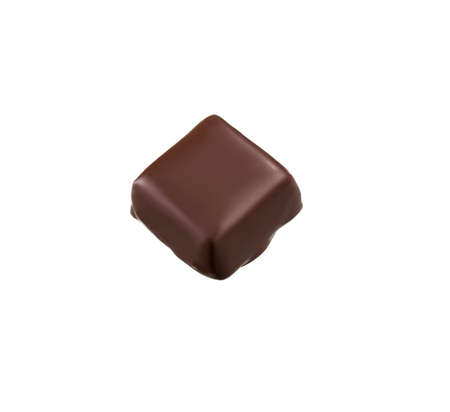 top view of a portion of chocolate on white background Фото со стока
