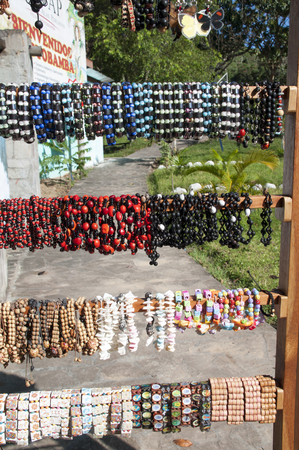 Souvenirs in the Amazon rainforest made from local nuts and animals near Iquitos, Peru.