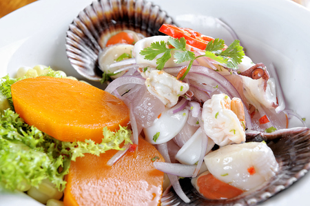 Mix of Sea food and fish peruvian ceviche.