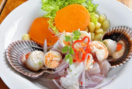 Mix of Sea food and fish peruvian ceviche.