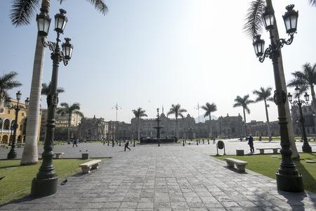 View of the Plaza Mayor of Lima. Peru, Historic city. Nice Stock Photo