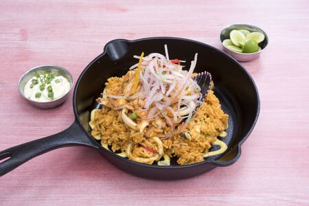 rice with seafood. Typical food of Peruvian cuisine. Yellow Imagens